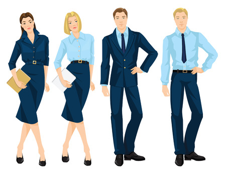 skirt suit: Vector illustration of business people isolated on white. Young woman in blue dress holding document in her hand. Business man in formal blue suit. Blonde girl in formal blue blouse and skirt