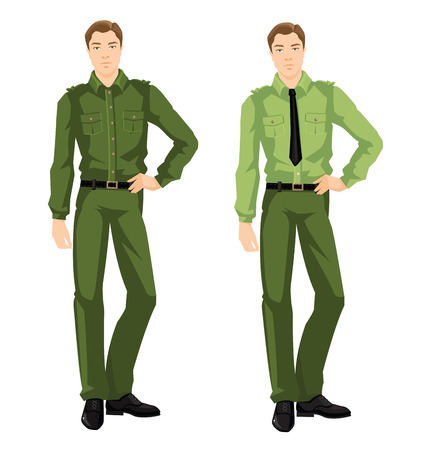 khaki pants: Vector illustration of young man in formal clothes isolated on white background Illustration