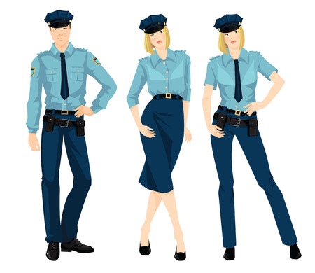 guard duty: Vector illustration of beautiful blonde policewoman and young police man in formal clothes isolated on white background.