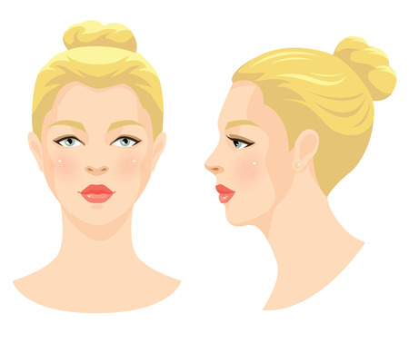 perl: Vector illustration of beautiful girl with blonde hair and blue eyes isolated on white background. Face in front. Face in profile. Various turn head. Illustration