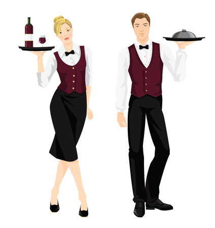 Vector illustration of waiter and waitress in formal clothes isolated on white background. Illusztráció