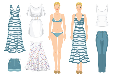 baby wardrobe: Paper doll with clothes. Body template. Set of template paper clothes. Clothes for holiday. Blonde girl in white maxi dress with blue stripe.