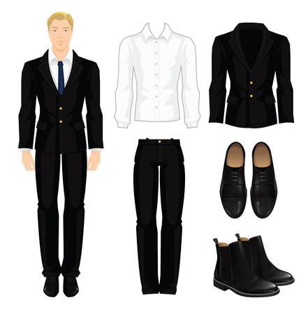 Ilustración del vector de código de vestimenta corporativa. Oficina uniforme. Ropa para hombre de negocios. Mujer de negocios o profesor en traje formal negro oficial. armario base. Par de zapatos formales negro.