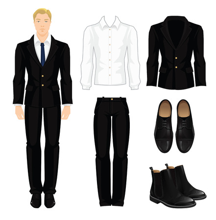 dress code: Vector illustration of corporate dress code. Office uniform. Clothes for business man. Business woman or professor in official black formal suit. Base wardrobe. Pair of black formal shoes.