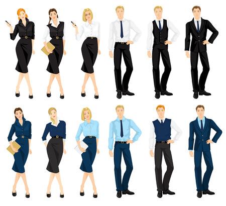 기업 드레스 코드의 벡터 일러스트 레이 션. 남자와 흰색 배경에 고립 된 공식 파란색과 검정색 정장에 여자. 정장 옷장.