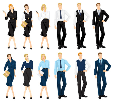 dress code: Vector illustration of corporate dress code. Man and woman in official blue and black suits isolated on white background. Formal wardrobe.