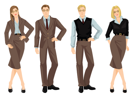 Vector illustration of people in brown suit, blue shirt and black sweater isolated on white background. Women and men in glasses. Ilustrace