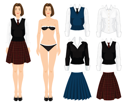 college student: Paper doll with clothes. Body template. Set of template paper clothes. young school or student girl in uniform. Various color of formal clothes for school or college. Skirt with tartan pattern Illustration