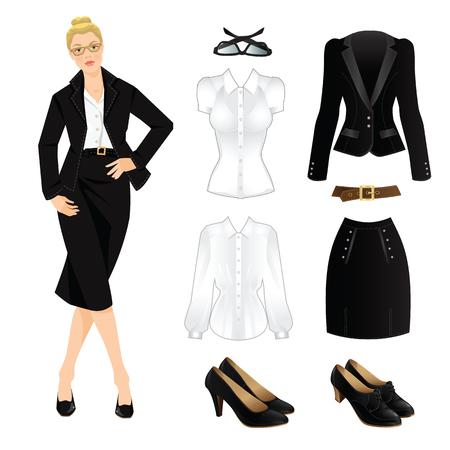 black dress: Vector illustration of business lady or professor in formal black suit. Serious blonde girl in glasses. Corporate dress code. Black uniform for women.