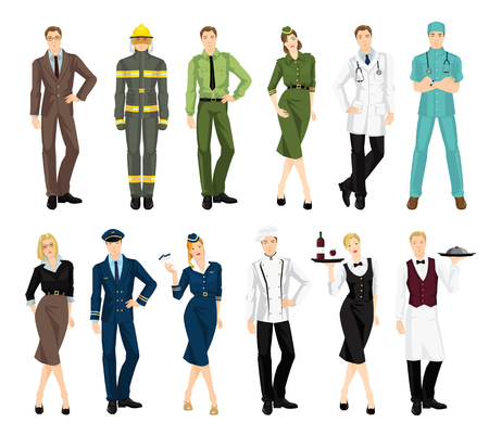 protective gown: Set of professional people in uniform isolated on white background. Professor, firefighter, military man and woman, doctor, teacher, pilot, stewardess, cook chef, waitress, waiter
