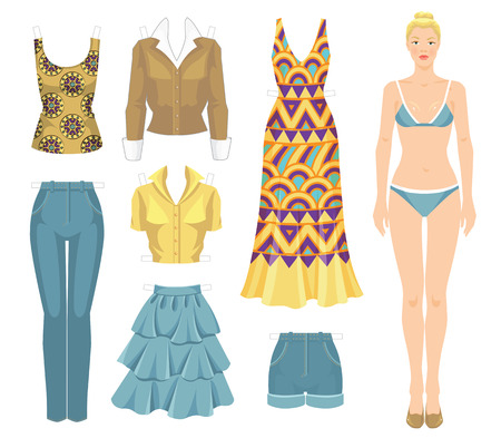 maxi dress: Paper doll with clothes. Body template. Set of template paper clothes. Clothes for summer holiday. Blonde girl in maxi dress with ethnic abstract pattern.