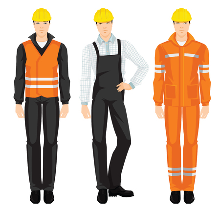 coverall: Vector illustration of man worker in protective wear and helmet isolated on white background