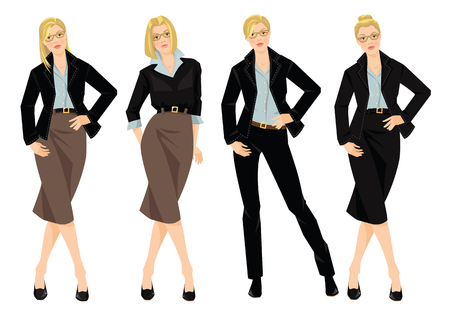 businesswoman skirt: Vector illustration of blonde young woman in black formal suit isolated on white background. Woman in glasses. Different hairstyle Illustration