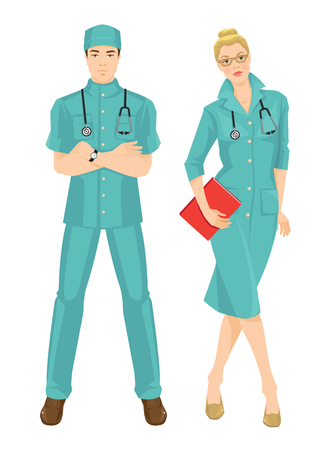 doctor gloves: Vector illustration of medical women in medical gown. A young man doctor in medical uniform and hat isolated on white background. Blonde serious girl in glass