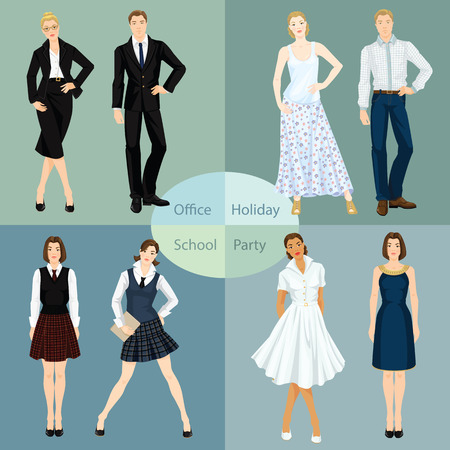 office party: Collection of man and woman in different clothes. Vector illustration of young people in clothes for office, party, school and holiday.