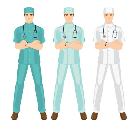 hospital gown: Vector illustration of medical man in medical gown. A young doctor in different color uniform and hat isolated on white background. Illustration