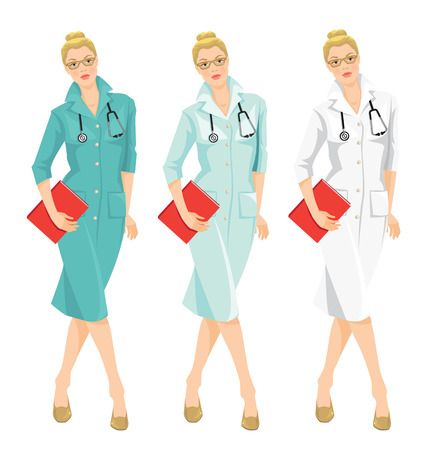 registered nurse: Vector illustration of young doctor holding a folder isolated on white background. A blond serious woman in medical gown. Different color of medical uniform. Illustration