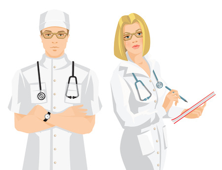 registered nurse: Vector illustration of young doctor in medical uniform and hat isolated on white background. Serious man in glasses. Medic woman in glasses wrote in document.