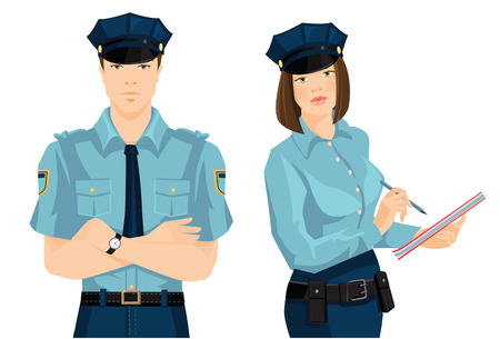guard duty: Vector illustration of beautiful police woman and young police man in formal clothes isolated on white background. Officer woman writing in document