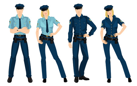 guard duty: Vector illustration of beautiful blonde police woman and young police man in formal clothes isolated on white background.