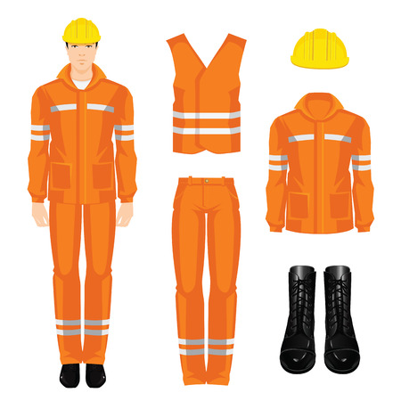 protective wear: Man worker in protective wear and helmet. Set of protective wear, shoes and yellow safety helmet on white background