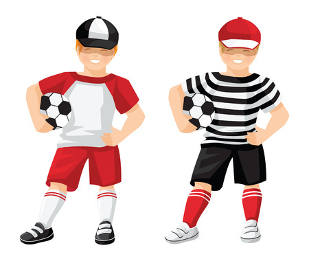 sport wear: Vector illustration of kid in sport wear with ball isolated on white background. Little boy with soccer ball in black sport shorts, top, red cap, red socks and sneakers.