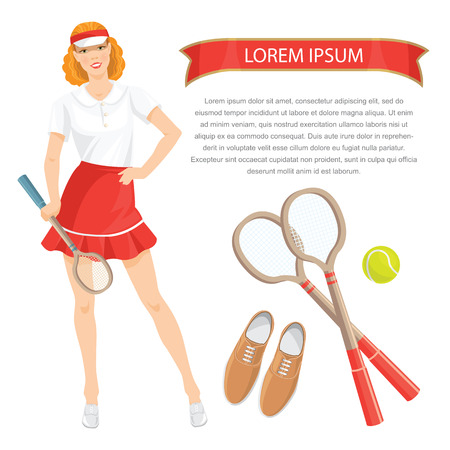 girl tennis: Vector illustration of pretty girl tennis player in sports wear isolated on white background. Tennis equipment isolated on white background