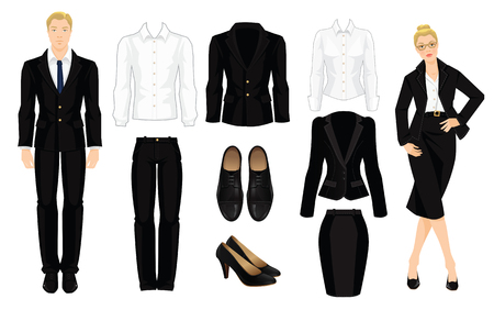 dress code: Vector illustration of corporate dress code. Office uniform. Clothes for business people. Secretary or professor in official black formal suit. Woman in glasses. Pair of black formal shoes.