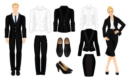 Vektor-Illustration der Corporate Kleiderordnung. Office-Uniform. Die Kleidung für die Geschäftsleute. Sekretär oder Professor in offiziellen schwarzen Anzug. Frau in den Gläsern. Ein Paar schwarze formale Schuhe.