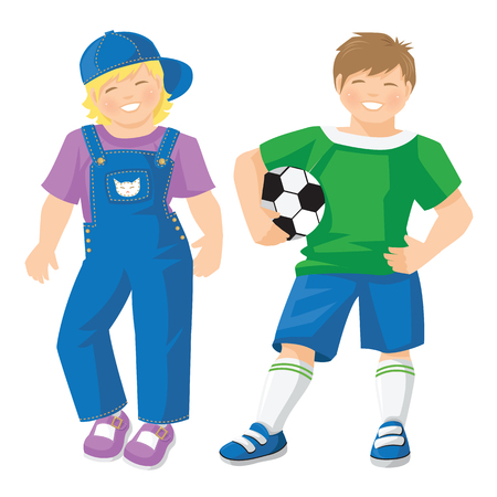 little boys: illustration of kid in sport wear with ball isolated on white background. Cute little girls in jeans with lavender color shirt and shoes Illustration