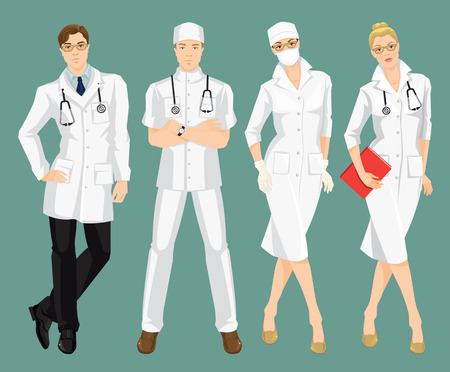 surgeon mask: illustration of medical people in medical gown. A young doctor in medical uniform and hat isolated on color background. Woman surgeon in protection mask