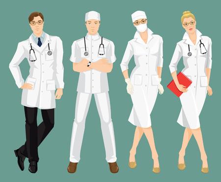 chirurgo: illustrazione di persone medici in camice medico. Un giovane medico in uniforme medico e cappello isolato su sfondo di colore. La donna chirurgo in maschera di protezione
