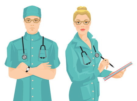 wrote: illustration of young doctor in medical uniform and hat isolated on white background. Serious man in glasses. Medic woman in glasses wrote in document.