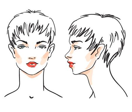 illustrazione linea del fronte della donna isolato su sfondo bianco. set di bella ragazza con taglio di capelli corto. Faccia di fronte. Volto di profilo. Vettoriali