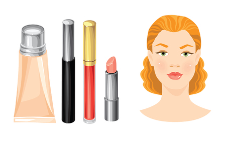 redhead girl: illustration of redhead girl. Set of cosmetics. Lipstick, mascara and foundation isolated on white.