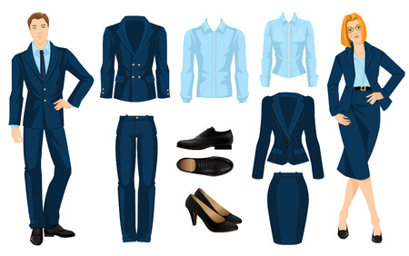 dress code: illustration of corporate dress code. Office uniform. Clothes for business people. Secretary or professor in official blue formal suit. Woman in glasses. Pair of black formal shoes.