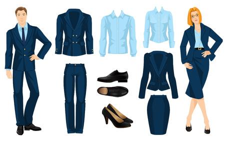 hombres ejecutivos: ilustración de código de vestimenta corporativa. Oficina uniforme. Ropa interior para hombres de negocios. Secretario o profesor en traje formal azul oficial. Mujer en los vidrios. Par de zapatos formales negro.