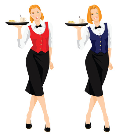 redhead woman: Waitress with tray. Pretty redhead woman in uniform