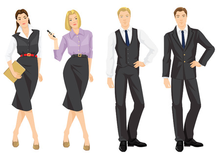 dress code: illustration of corporate dress code. Young man in formal grey suit. Secretary or manager with document in formal clothes. Pretty blond woman in glasses holding mobile phone in her hand. Illustration