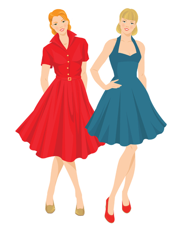 fifties: Vector illustration of pretty girls in elegant blue and red dress. Fifties style of clothes