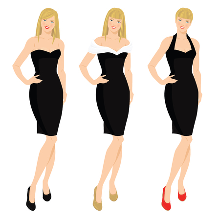 poses de modelos: Ilustración del vector de las mujeres elegantes en varios modelos de pequeño vestido negro. chica rubia con diferentes peinados