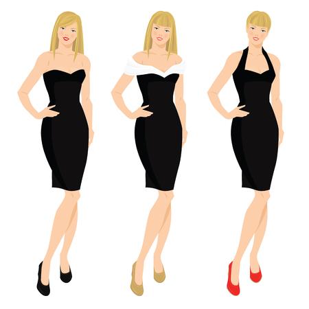Vektor-Illustration der eleganten Frauen in vaus Modell der kleinen schwarzen Kleid. Blonde Mädchen mit verschiedenen Frisuren Standard-Bild - 59734085