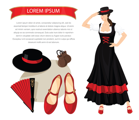 get dressed: Vector illustration of woman dancer in spanish folk costume. Element of traditional flamenco equipment. Brunette girl get dressed hat on her head