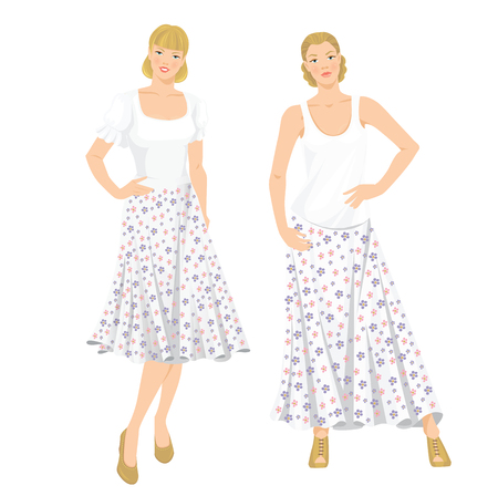 maxi: Vector illustration of young girls in clothes for summer holiday. Romantic maxi skirt with flower pattern