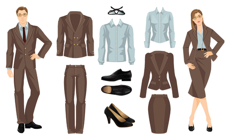 office uniform: Vector illustration of corporate dress code. Office uniform. Clothes for business people. Secretary or professor in formal brown suit. Woman in glasses. Pair of black classic shoes.