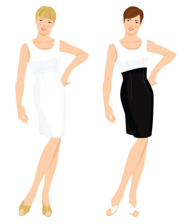 short haircut: Vector illustration of elegant women in various model of white cocktail dress. Girls with different color short haircut
