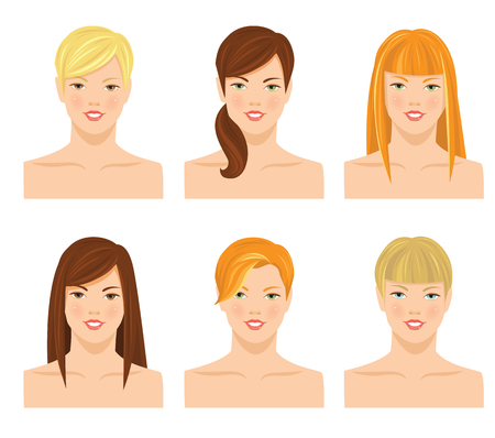 set of men hair styling: Vector illustrations of pretty young girls with various hair style with bangs isolated on white background. Different color of hair and eyes Illustration