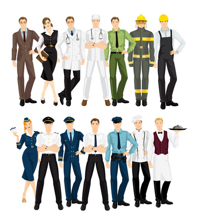 librarian: Group of professional people in uniform. Teacher, librarian, doctor, surgeon, military man, firefighter, worker, stewardess, pilot, businessman, police officer, cook chef, waiter. Illustration