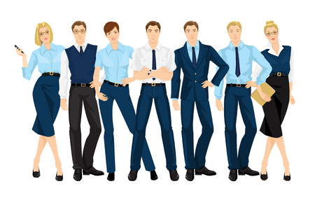 dress code: Vector illustration of corporate dress code. Group of business people. Professional man and woman in official blue suits isolated on white background.
