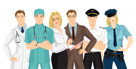 protective gown: Vector illustration of human resources. Group of business people isolated on white background. Man and woman in formal clothes.